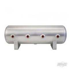 "2.5 Gal Alum Air Tank - (4) 1/4"" face ports, & 1/4"" drain port - 20"" L x 6"" D"