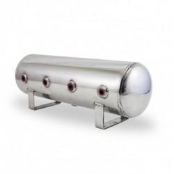 """2.5 Gal Alum Air Tank - (4) 1/4"""" face ports, & 1/4"""" drain port - 20"""" L x 6"""" D - Polished"""