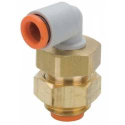 Bulkhead elbow union connector - 3/8PTC